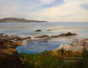 Quiet Day at Carmel Bay - oil painting by Karen Winters Art for Sale