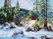Mt. Pinos Frazier Park cabin in the snow pines oil painting