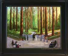 Wedding painting in Berkeley Botanical Gardens Redwood Grove