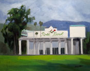 Pasadena Rose Bowl oil painting with soccer field 8 x 10