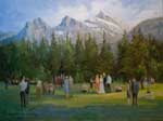Canadian Wedding Painting - Canmore Alberta - Commissioned painting of wedding at Three Sisters, Canadian Rockies