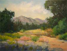 Santa Barbara botanical garden wildflower meadow oil painting