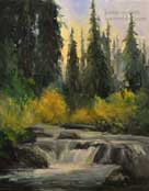 Sierra Seasons Sierra nevada Oil Painting Fishing Creek Stream Pines Fall Color
