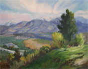 Snow on the Crest - Angeles National Forest - Angeles Crest, La Canada Flintridge overlook view oil painting