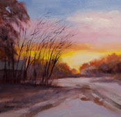 snowy sunset oil painting