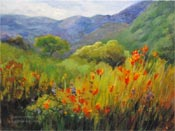 California Spring Poppies Hillside Oil Painting by Karen Winters