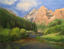 Summer at Maroon Bells Aspen Snowmass oil painting