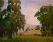 Summer's Splendid End - California Landscape Oil Painting Eucalyptus trees vineyard by Karen Winters