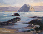 Surfside at Morro Bay Morro Rock oil painting