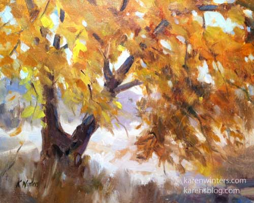 Sycamore Shimmer Tree Oil Painting Los Osos