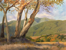 Sycamores and San Gabriels oil painting