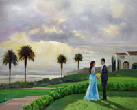 Live event wedding painting Terranea resort sunset Palos Verdes by Karen Winters
