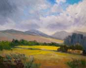 California Central Coast Landscape oil painting Los Osos Valley Road near Paradise Lane, San Luis Obispo field meadow sunlight marine layer