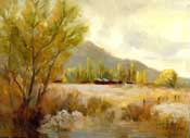 Bishop California ranch oil painting Round Valley Swall Meadow golden light Owens Valley eastern sierra oil painting art