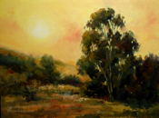 Under the California Sun - tonalist original California oil painting, warm golden afternoon by fine artist Karen Winters
