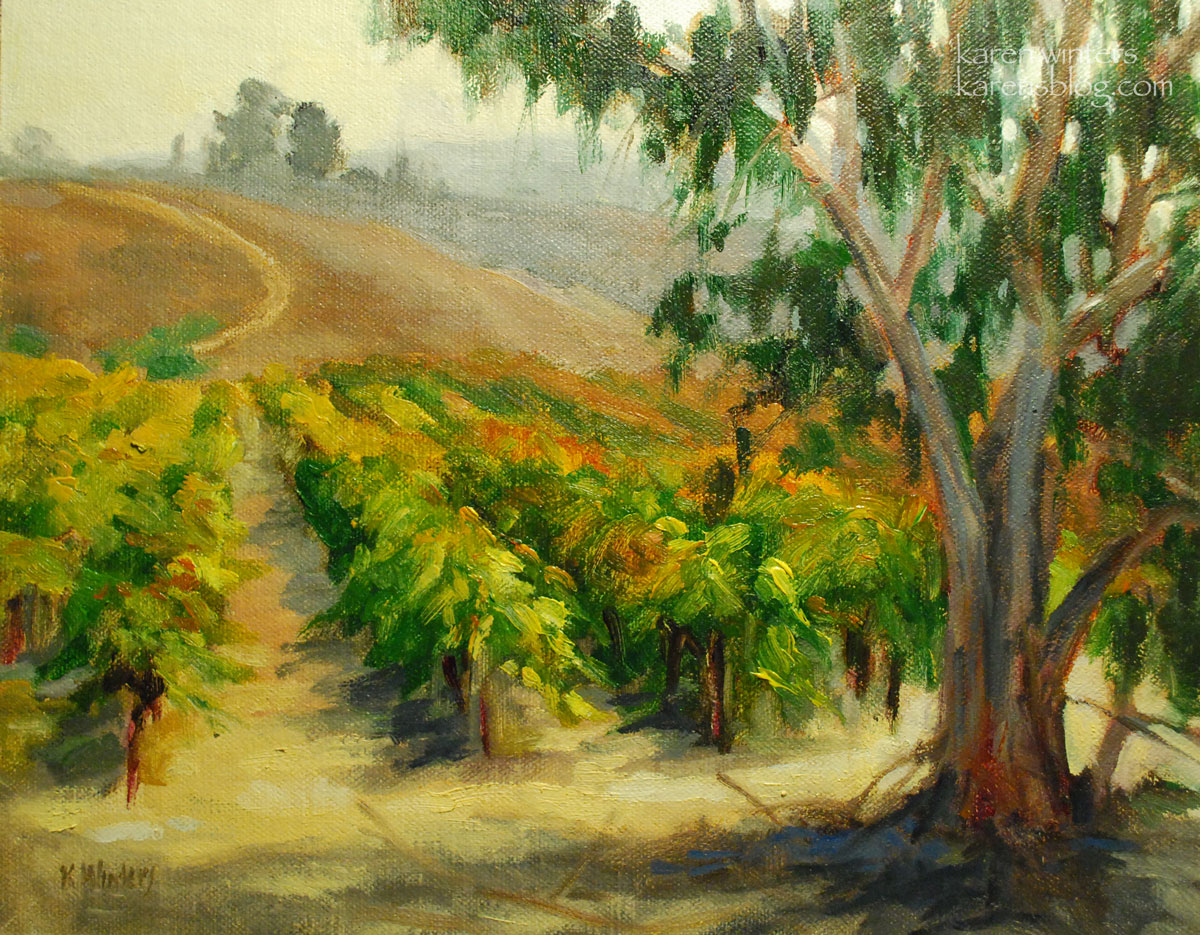 Harvest Time California Vineyard Oil Painting Plein