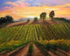 Vineyard Harvest Time California landscape sunset oil painting
