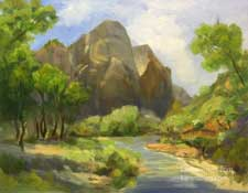 Virgin River Zion National Park Watchman oil painting