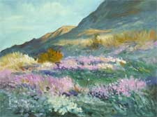 wildflower wonderland desert oil painting with pinks purples and greens