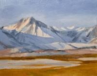 Winter's Here Eastern Sierra Upper Owens Valley oil painting by Karen Winters