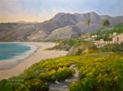 Point Dume Zuma Beach oil painting by California Art Club artist Karen Winters